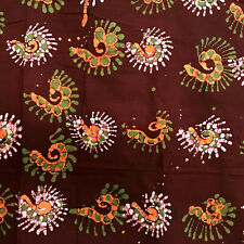 Artisan Hand Dyed Philippines Cotton Batik Fabric 3 Yards Purple Green Orange