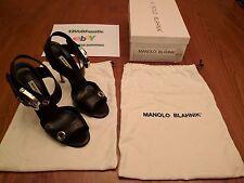 Manolo Blahnik M-Koyo Black Leather Open Toe w/Silver Buckle: Size 10.5 (40.5)
