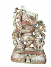 Stone Hand Carved Dancing Ganesh Sculpture Stone Statue Yoga Art 8 inch
