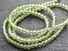 "TINY 2mm MICRO FACETED PERIDOT RONDELLES, 13"", 180 beads"