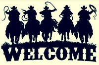 COWBOY WESTERN Welcome  METAL ART RANCH RUSTIC LODGE MOUNTAIN CABIN WALL DECOR