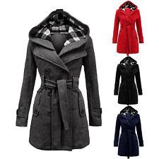 Damen Gürtel Jacke Wintermantel Kapuzepullover Parkas Mantel Winterjacke Outwear