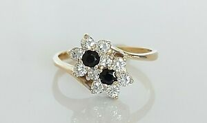 Vintage 1989 9ct Gold Sapphire & Simulated Diamond Floral Cluster Ring UK K 2g