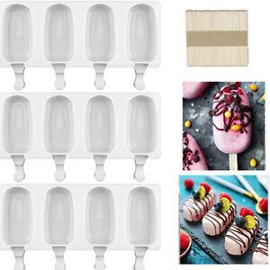3 Stück Eisformen Silikon-Form für 4 Eis am Stiel Formen mit 72 Holzstielen