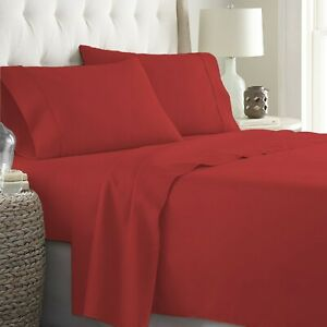 Cushy Bedding 4 PCs Sheet Set 1000 TC Egyptian Cotton Solid Colors Queen Size