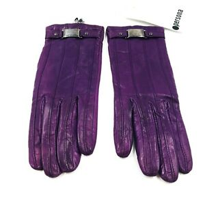 Persona Purple Designer Leather Gloves Size M Made in Italy