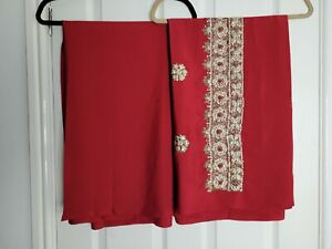 Unstitched Material for Salwar Kameez Pakistani Asian Fabric Red Silver Sequins
