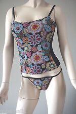 On Gossamer Black Floral Embroidered Sequin Beaded Bustier & Thong Panty Set