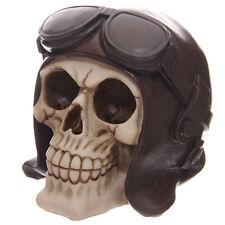 Spardose Totenkopf mit Fliegerbrille Mystik Mittelalter Gothic Skull Schädel NEU