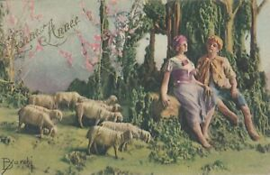 NEW YEAR - Barchi Signed Couple and Sheep Bonne Annee Happy New Year - 1922