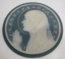 Superbe PLAQUE Ancienne Portrait Vierge en Biscuit Limoges CHARLES SERPAUT