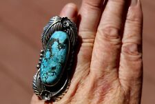 Fabulous Giant Vintage Navajo Sterling Silver Blue Turquoise Stone Ring SZ 7.50