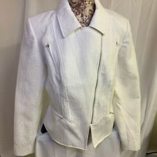 Cynthia Rowley XL White Moto Coat Jacket w/ Zipper Biker Pretty