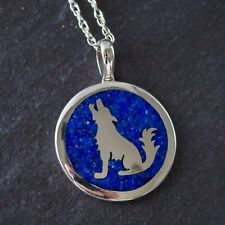 Sterling Silver and Chip Lapis Lazuli Circle Howling Wolf Pendant
