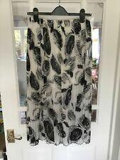 VGC Size 12 M&S Limited Edition Black White Swirl Pleated Chiffon Flippy Skirt *