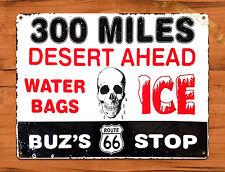 "Tin Sign ""Desert Ahead Skull"" Route 66 Gas Station Retro Art Wall Decor"