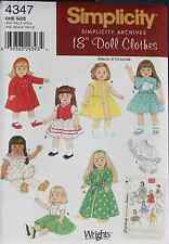 "18"" GIRL DOLL CLOTHES Simplicity Sewing Pattern 4347 American Made NEW Retro"