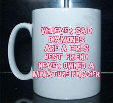 Los diamantes son un mejor amigo Pinscher Miniatura Novedad Chicas Impreso Taza Regalo Perro