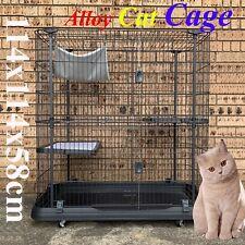 4 Level Storey Boltless Alloy Metal Cat Cage Hamster Enclosure 114x114x58cm