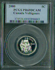 2000 CANADA VOLTIGEURS SILVER 5 CENTS PCGS PR69 2ND FINEST REGISTRY *