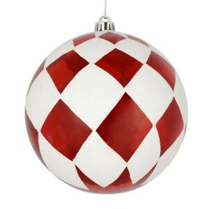 Vickerman N180803 8 in. Red Ball with White Diamond Glitter Ornament