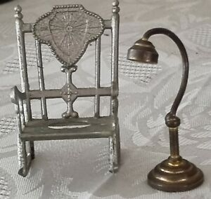 Vintage Miniature Doll House Furniture Metal Rocking Chair & Brass Lamp