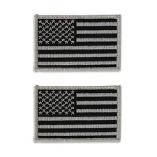 2pc Pack USA American Flag Embroidered Patch - Subdued Grey - FREE SHIP