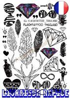 Taty Body Art Temporaire Autocollants Tatouage Plume Diamant Tatoo Autocollant