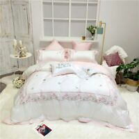 Egypt Cotton Sweet Dream Bedding Set Embroidery Silky Duvet Cover Sets Bed Sheet
