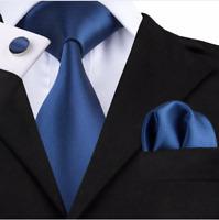 Set Cravate Bleu-Marine,8cm,Bouton Manchette,Mouchoir,100%Soie,Made in France