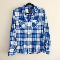 American Rag Men's Blue White Plaid Flannel Button Up Shirt Size Small