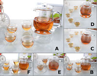 Kinds Heat Resistant Glass Tea Set - 550ml Teapot with Tea Cups (with Warmer A)