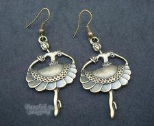Ballet Dangle Earrings Vintage Brass Bronze Tone Colleectible Jewelry Love Dance