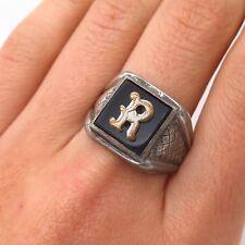 """925 Sterling Vintage Vargas Black Onyx Letter """"R"""" Initial Men's Ring Size 10 3/4"""