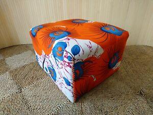 Fab Vintage Retro Oblong Low Footstool Pouffe Seat Stool Orange Blue Wax Print