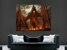 FIRE BREATHING DRAGON FANTASY POSTER SAMURAI WARRIOR SWORD SHIELD  IMAGE WALL