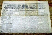 Original 1877 LEXINGTON Virginia newspaper wVIEWS of LEXINGTON VA aftr Civil War