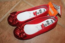NWT Olivia By Gymboree Size 12 Red Glitter Ballet Flats  Dress Shoes