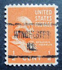Sc # 803 ~ 1/2 cent Ben Franklin Issue, Precancel, WINCHESTER ILL. (ak25)