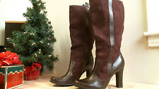 MOSSIMO Fashion BOOTS size 9 1/2 M BROWN LEATHER & SUEDE HEELS
