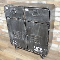 Cabinet With Wheels Metal Cupboard 4 Door Distressed Storage Organiser New