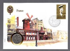 FRANCE 1990 DAY OF ISSUE CHARLES TRENET STAMP + 2 FRANCS COIN  MINT CONDITION.
