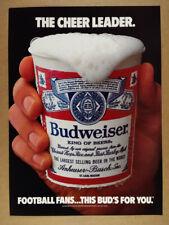 1986 Budweiser Beer stadium label cup photo vintage print Ad