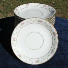 "LIMOGES U.C. SAUCERS LOT OF 16 PINK ROSES & ROSE BUDS GOLD TRIM 4 1/2"" / 14cm. D"
