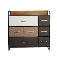 Home Dresser Storage Chest Tower 7 Fabric Drawers Metal Frame Organizer Cabinet