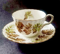AYNSLEY ENGLAND BROWN GREEN FERNS AUTUMN - CUP AND SAUCER SET 1939-1960 SWIRL