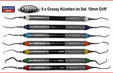 7 Gracey Küretten 10 mm Hohlgriffe - leicht - farbkodiert - Neue Form