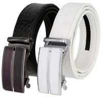 "Men's Genuine Leather Ratchet Dress Belt Automatic Buckle 1-3/8"" (35mm) Wide"