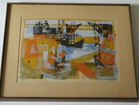 Maurice Sarthou SIGNED LITHOGRAPH FRENCH? ABSTRACT INDUSTRIAL SHIP BOAT MARINA