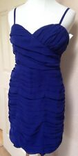 NEW$118 WALTER BAKER STRAPS or STRAPLESS-Exposed ZIPPER-Sexy Ruched-BLUE Dress S